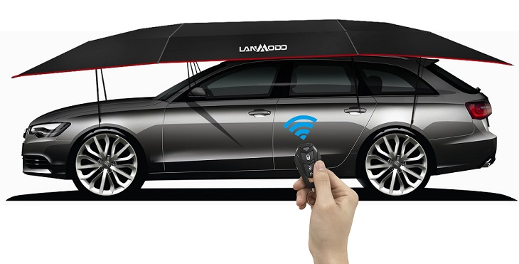 how to operate Lanmodo car umbrella